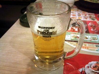朝から生ビール